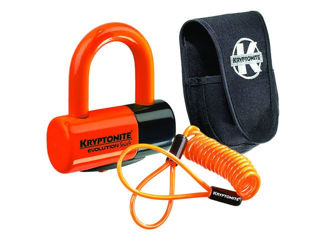 KRYPTONITE Evolution Series 4 disc lock - Premium Pack pouch and reminder cable - orange click to zoom image